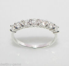size L 925 Sterling Silver 7 Stone Half Eternity Lab-Created Diamond Ring