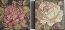 shabby chic french  block wall mount print flowers rose garden floral picture