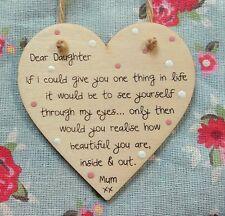 Handmade 10cm heart plaque Dear Daughter Mother Love wooden Keepsake Gift