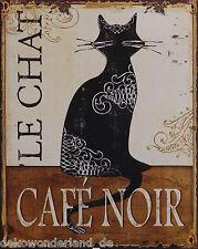 Blechschild Dekoschild Le Chat Cafe Noir  Retro Nostalgie Vintage Katze 25x20cm