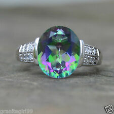 Genuine 6.05ct Oval Mystic Topaz & Diamond Ring 925 Sterling Silver Sz 7 / UK O