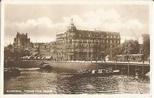 Amsterdam, Victoria-Hotel Damrak, Schiffe, Schleppkähne, Straßenbahn, Ak 1930