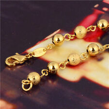 24K GP Gold Plated Charm Beaded Chain Bracelet Dia 7mm Womens Mens