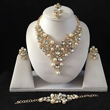 GOLD PEARLS CRYSTAL COSTUME JEWELLERY NECKLACE EARRINGS BRACELET RING SET NEW