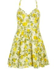 BNWOT WAREHOUSE yellow retro 50's floral rose bud empire tea dress size 12
