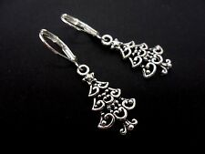 A PAIR OF  CUTE LITTLE TIBETAN SILVER DANGLY CHRISTMAS TREE LEVER BACK EARRINGS