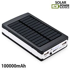 100000mAh PowerBank Solar Dual USB LED Charger For iPhone Tablets SmartPhones