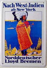 Blechpostkarte Norddeutscher Lloyd - West-Indien, 10 x 14,5 cm