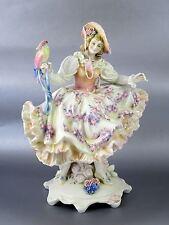 """Vintage Pre-WWII Large KARL ENS Porcelain Figurine GIRL W/PARROT 13"""""""
