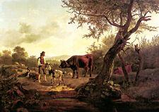 FRIEDRICH GAUERMANN HIRTENSZENE um 1826 KUH ZIEGE FAKSIMILE 37 auf Büttenpapier