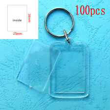 100x Clear Acrylic Blank Frame Keyrings, Photo Picture Insert Keyfob Keychain