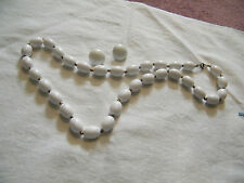Beautiful Necklace & Clip Earring Set White & Gold Plastic Beads NICE