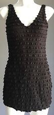 Pre-owned Black & Silver Lurex SEDUCE Layered Stretch Mini Dress Size 8