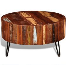 Industrial Coffee Table Reclaimed Solid Wood Living Room Furniture Antique Round