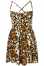 Topshop Animal Print Strappy Cupped Sun Dress UK 8 EURO 36 US 4 BNWT RRP £36