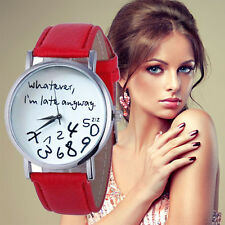 New Women Leather Quartz Watch Whatever I am Late Anyway Letter Wrist Watches E