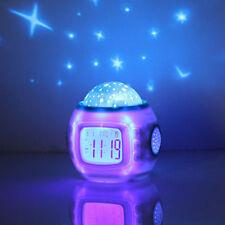 children room sleeping sky star night light projector lamp bedroom clock alarm children bedroom lighting