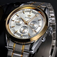 Vintage High Class Silver 3 Dials Gold Automatic Mechanical Mens Man Wrist Watch
