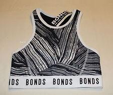 Bonds Ladies Black Print 44N Active Microfibre Racer Crop Top Size L New