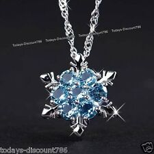 BLACK FRIDAY - 925 Silver Blue Snowflake Crystal Necklace Gift For Her Love Wife