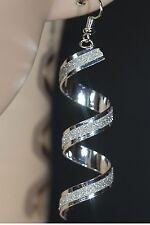 Damen glitzer Ohrringe Ohrhänger versilbert Mode Silber Durchzieher Lange Trend