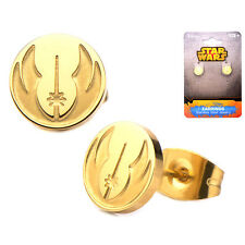 Official Official Stainless Steel Gold Plated Jedi Order Symbol Stud Earrings