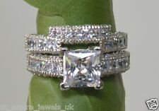 3.50 CT PRINCESS CUT DIAMOND  ENGAGEMENT & WEDDING BAND SOLID 14K WHITE GOLD