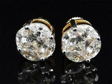 Mens Ladies Yellow Gold Finish Round Solitaire Lab Diamond Stud Earrings 10mm