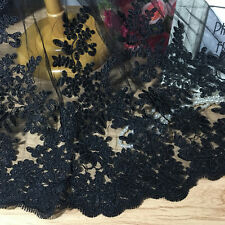 "55"" Wide Embroidery Corded Bridal Lace Fabric Black Floral Lace Fabric 1/2 Yard"
