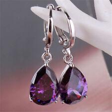 Fashion Jewelry Women Amethyst 925 Sterling Silver Ear Stud Dangle Hoop Earrings