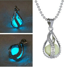 Charm Mystery The Little Mermaid's Teardrop Glow in Dark Pendant Necklace Women