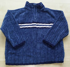 BOYS BLUE/NAVY & WHITE RIBBED VELOUR JUMPER WITH STRIPES AGE 7 YEARS ADAMS