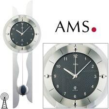 AMS Wanduhr 5243 Funk mit Pendel Holzrückwand Carbon-Optik Pendeluhr