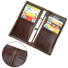 Men's Genuine Leather Long Wallet Bifold Business Credit Card Holder Money Clip