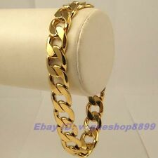 "9""12mm39g REAL MEN 18K YELLOW GOLD GP BRACELET SOLID FILL GEP CURB CHAIN LINK"