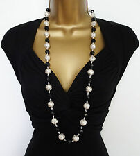 "Gorgeous 36"" Long Black and Silver Tone Bead Necklace Chain"