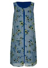 Blue Floral zest chiffon Overlay stretchy lined Desk to dinner party dress 20