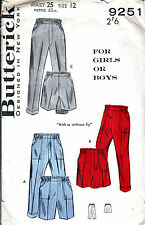 VINTAGE 50s SEWING PATTERN BUTTERICK 9251 CHILD TROUSERS SHORTS SZ 12 UNCUT M8A