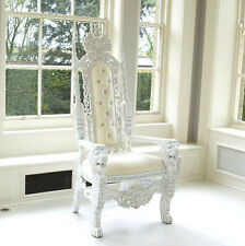 Throne Chair / French Rococo Lion King Armchair White/White Velvet IN STOCK!