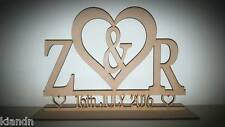 "Free standing ""Heart, Initial and Date"" MDF blank craft Plaque/sign"