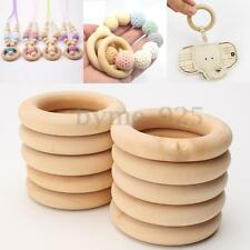 20pcs / Lot Unfinished Natural Wooden Round Rings DIY Wood Craft Bunny 55mm