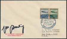 "MAX SCHMELING ""BOXER"" SIGNATURE ON HINDENBURG COVER GERMANY TO USA BS2346"