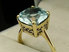 R224 Genuine 9ct Solid Yellow Gold Natural Topaz Cushion Solitaire Ring size N