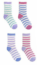 Ladies Fluffy Warm Cosy Evening Bed Lounge Stripe Socks 4 Pack Size 4-7 Set 1