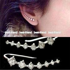 New Girls One Row Rhinestone Silver Crystal Star Ear Clip Cuff Piercing Earrings