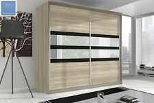 BRAND NEW MODERN BEDROOM SLIDING DOOR WARDROBE 7 ft 8 (233cm) - SONOMA OAK & F09