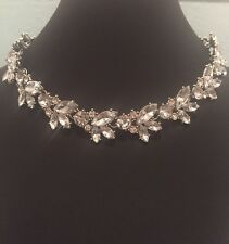 Vintage Sparkly Crystal Choker Statement Necklace Party Silver