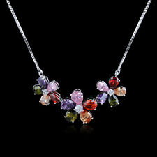 18K Gold GP Multi Colored three Flowers necklace q93362451