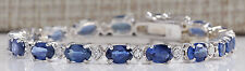 ESTATE 11.95CTW NATURAL SAPPHIRE AND DIAMOND BRACELET  IN 14K SOLID WHITE GOLD