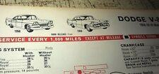 1958 1959  1960 1961 DODGE V8 - CALTEX Australia Lube Chart